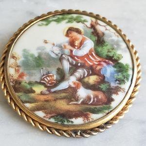 Sweet Limoges Handpainted Brooch Large Size